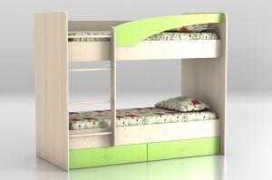 Кровать двухъярусная млечный дуб - зеленый