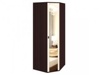 Темный угловой шкаф с зеркалом 1