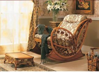 Кресло-качалка мебель из ротанга