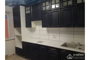 Черная прямая кухня Александра 13 - Мебельная фабрика «ОЛИМП»