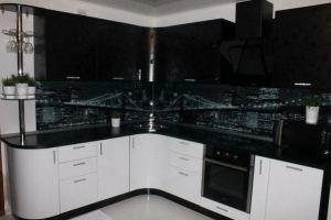 Черно-белая угловая кухня - Мебельная фабрика «МЭК»