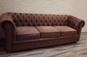 Диван прямой с каретной стяжкой - Мебельная фабрика «Лора»