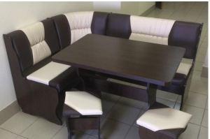 Кухонный уголок Уют 2, венге темный, к/з шоколадный + молочный - Мебельная фабрика «Миссия»
