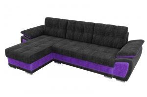Черный диван Нестор с фиолетовой вставкой - Мебельная фабрика «Мебелико»