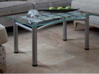 Стол журнальный Робер 3М металлик/прозрачное - Мебельная фабрика «Мебелик»