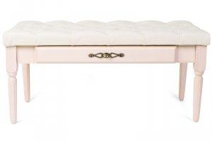 Банкетка Оливия эко-кожа молочный/белый ясень - Мебельная фабрика «Мебелик»