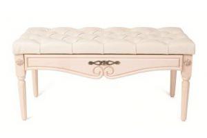 Банкетка Сильвия эко-кожа молочный/белый ясень - Мебельная фабрика «Мебелик»