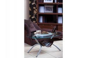 Стол журнальный Дуэт 2 металлик/прозрачное - Мебельная фабрика «Мебелик»
