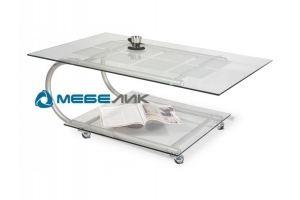 Стол журнальный Дуэт 10 металлик/прозрачное - Мебельная фабрика «Мебелик»