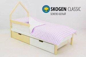 Детская кровать-домик мини Skogen бежево-белый - Мебельная фабрика «Бельмарко»