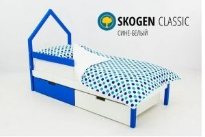 Детская кровать-домик мини Skogen сине-белый - Мебельная фабрика «Бельмарко»