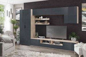 Гостиная Тренто шкаф дуб сонома/графит глянец - Мебельная фабрика «CASE»