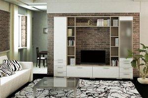 Модульная гостиная Вейла К-06 Дуб каньон светлый/Белый полуглянец - Мебельная фабрика «7А»
