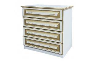 Комод Классика белый с золотой патиной 4 ящика - Мебельная фабрика «Кедр-М»