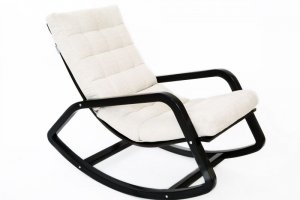 Кресло-качалка Онтарио ткань гардения, каркас венге - Мебельная фабрика «Мебелик»