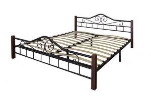 Кровать Сартон 1 (140) черный/средне-коричневый - Мебельная фабрика «Мебелик»