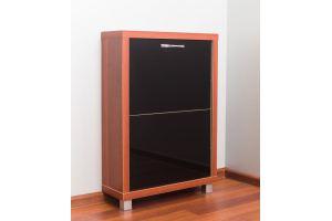Обувной шкаф Айрон 2-х секционный Люкс стекло черное - Мебельная фабрика «АЙРОННОРИ»