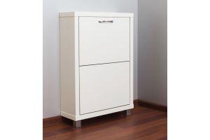 Обувной шкаф Айрон 2-х секционный Люкс белое стекло - Мебельная фабрика «АЙРОННОРИ»