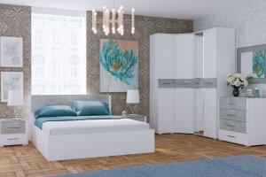 Спальный гарнитур Бьянка белый/бетон светлый - Мебельная фабрика «CASE»