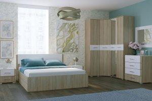 Спальный гарнитур Бьянка дуб сонома/белый глянец - Мебельная фабрика «CASE»