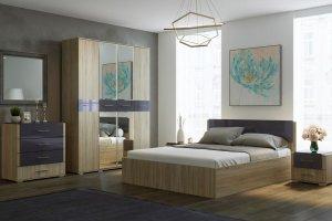 Спальный гарнитур Бьянка дуб сонома/графит глянец - Мебельная фабрика «CASE»