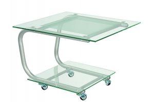 Стол журнальный Дуэт 9 металлик/прозрачное - Мебельная фабрика «Мебелик»