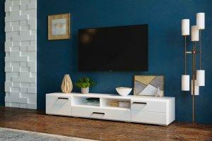 Тумба ТВ Ларго белый/белый глянец - Мебельная фабрика «CASE»