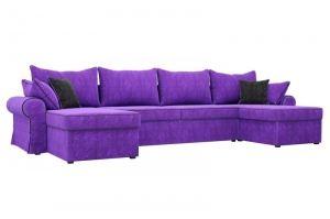 Диван П-образный Элис велюр фиолетовый - Мебельная фабрика «Мебелико»
