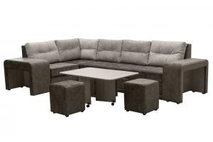 Диван угловой Квадро-2 с пуфами и столом - Мебельная фабрика «Норма»