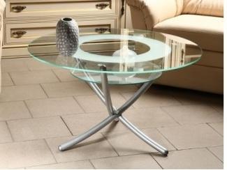 Стол журнальный Дуэт 4 металлик/ прозрачное - Мебельная фабрика «Мебелик»