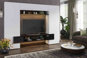 Гостиная Инкастро 2 белый/черный глянец - Мебельная фабрика «CASE»