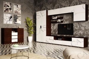 Гостиная Тренто с комодом венге/белый - Мебельная фабрика «CASE»