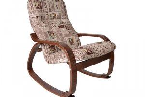 КРЕСЛО-КАЧАЛКА САЙМА ткань газета, каркас вишня - Мебельная фабрика «Мебелик»
