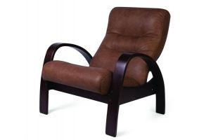 Кресло Тенария 3 эко-кожа средне-коричневый/каркас темно-коричневый - Мебельная фабрика «Мебелик»