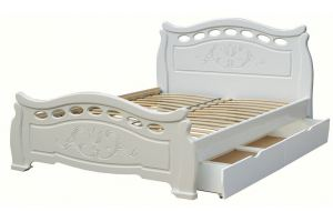 Кровать из массива НИМФА  с выкатными ящиками - Мебельная фабрика «DM - DarinaMebel»
