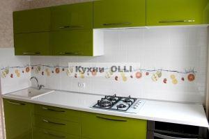 Кухня прямая в эмали с плиткой. - Мебельная фабрика «Кухни OLLI»