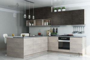 Кухня ЛДСП с полуостровом Мишель - Мебельная фабрика «Бобр»