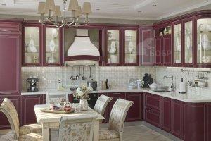 Кухня угловая бордовая Мария - Мебельная фабрика «Бобр»