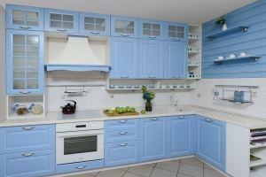 Кухня угловая голубая Мария - Мебельная фабрика «Бобр»