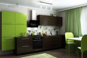 Кухня зеленая прямая Мишель - Мебельная фабрика «Бобр»