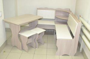 Кухонный уголок Миссия с полкой, ясень шимо светлый, к/з молочный - Мебельная фабрика «Миссия»