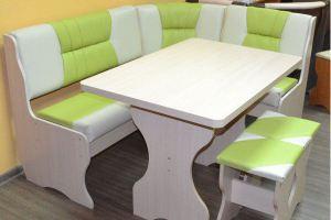 Кухонный уголок Уют 2, дуб выбеленный, к/з салатовый + молочный - Мебельная фабрика «Миссия»