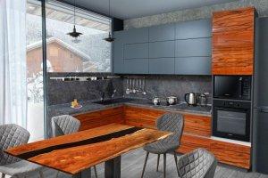 Кухня шпон и эмаль Мадрид - Мебельная фабрика «Корфил»