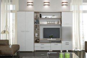 Модульная гостиная Вейла К-01 Дуб каньон светлый/Белый полуглянец - Мебельная фабрика «7А»