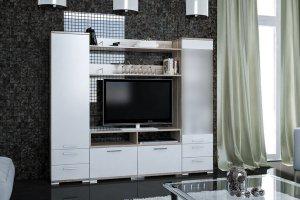 Модульная гостиная Вейла К-04 Дуб каньон светлый/Белый полуглянец - Мебельная фабрика «7А»