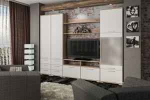 Модульная гостиная Вейла К-05 Дуб каньон светлый/Белый полуглянец - Мебельная фабрика «7А»