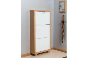 Обувной шкаф 3-х секционный Люкс стекло белое - Мебельная фабрика «АЙРОННОРИ»