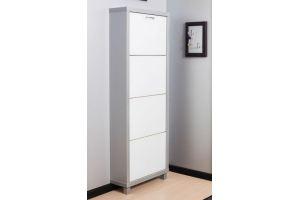 Обувной шкаф 4-х секционный Люкс стекло белое - Мебельная фабрика «АЙРОННОРИ»