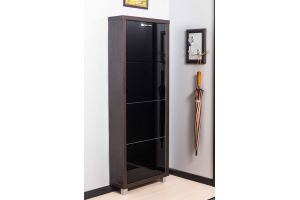 Обувной шкаф 4-х секционный Люкс стекло черное - Мебельная фабрика «АЙРОННОРИ»