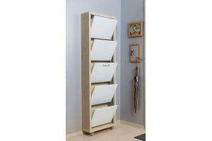 Обувной шкаф 5-ти секционный Люкс стекло белое - Мебельная фабрика «АЙРОННОРИ»
